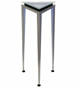 "Modern Adesso Reflections 35"" Steel & Glass Accent Pedestal Table WK5108L-01"