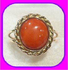 SOLID 9CT YELLOW GOLD GENUINE NATURAL CABOCHON CORAL SOLITAIRE RING SIZE M