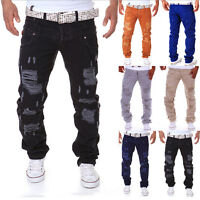 Men Skinny Runway Straight Zipper Denim Pants Destroyed Ripped Jeans new