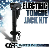 Electric Power Lift Tongue Jack 12V 3500Lbs Camper RV Trailer Level Adjustable