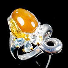 Handmade Natural Cat's Eye Sunstone 925 Sterling Silver Ring Size 7/R113712