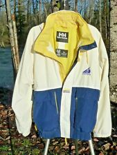 "HELLY-HANSEN JACKET M 48"" CHEST HELLY-TECH HOODED H-H NYLON COAT WHITE BLUE +"