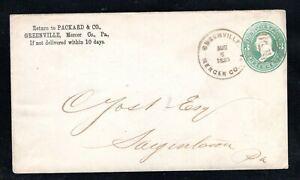 1883 Fancy Cancel Greenville, PA.,  Aug. 6th, Sc #U163  to Saegertown, Pa.