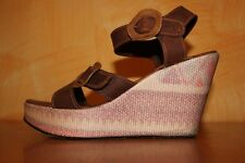 BATA Sandali zeppe tela scarpe donna Marrone Rosa tg. 39