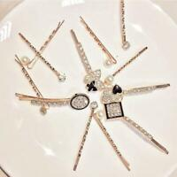 Womens Crystal Rhinestone Pearl Bobby Hair Pin Barrette Bridal Hairpin Clip Q3O8