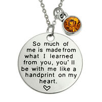 Sentiment Message Necklace Handprint on my Heart Silver Jewellery Gift Boxed
