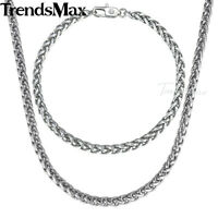 5mm Braided Wheat Link Bracelet Necklace Chain Set For Men Stainless Steel