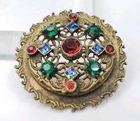 Vintage Czech? Foiled Open Back Rhinestones Victorian Revival Ornate Brooch Pin