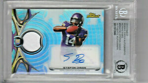2015 Topps Finest Refractor Stefon Diggs Patch Jersey Auto RC Rookie Beckett Aut