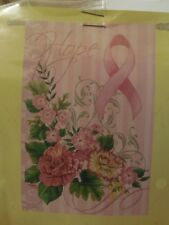 """""""Hope"""" Pink Ribbon, Flowers, Breast Cancer Awareness is in October, HOUSE flag"""