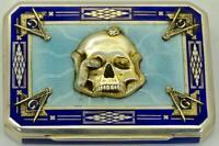 WOW! One of a kind Sterling silver&enamel Masonic Skull&Snake cigarette case