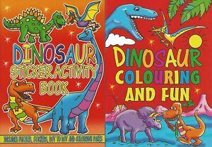 Set 2 x Children's Dinosaur Colouring Puzzle Book Stickers Activity Kids T Rex