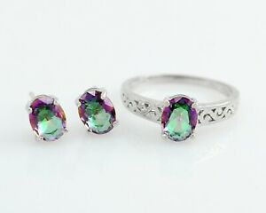 Natural Mystic Gemstone 925 Sterling Silver Ring Earring Bridal Jewelry Set