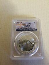 2016 P $1 Australia Silver Kangaroo Coin - Pcgs Graded Ms70 - .9999 Silver