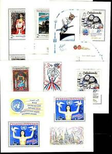 CZECHOSLOVAKIA 1960/80's COLLECTION of 7 S/S MNH PAINTINGS, MUSIC, SPACE