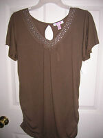 new WOMENS shirt  BROWN STUDDED v neck cap sleeve (size s,m) LENA T20
