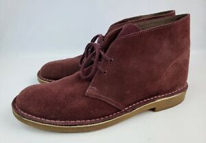 Clarks Chukka Boots Men's 12 M Maroon Suede Leather Lace Up Ankle preowned