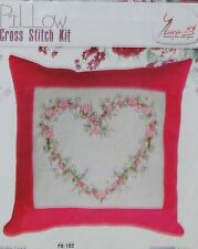 NEW ANCHOR  LUCA-S FLORAL HEART PINK PILLOW  COUNTED CROSS STITCH KIT