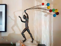 """Vintage Scarce Curtis Jere Signed Bronze Sculpture """"Boy with Balloons"""" on Onyx"""