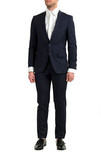"""Hugo Boss Men's """"Huge6/Genius5"""" Slim Fit Blue Plaid 100% Wool Two Button Suit"""