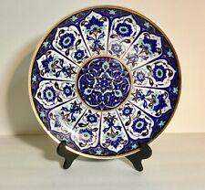 Stunning Eske Harem Porcelen Cobalt Blue Decorative Plate Wall Hanging Handmade