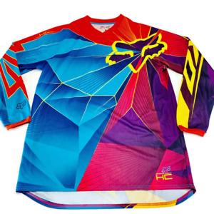 Fox Mens Motocross Jersey Blue Violet Color Block Long Sleeve V Neck M