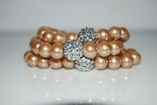 ELEGANT CHAMPAGNE COLOR FAUX PEARLS & RHINESTONE STRETCH STATEMENT CUFF BRACELET