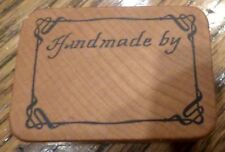 1987 Comotion Handmade By Sign Card Making Hand Made Wood Mount Rubber Stamp