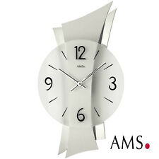 AMS 41 Wall Clock Quartz Living Room WATCH MINERAL GLASS CHROMED REAR PANEL 323