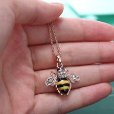 Unique Fashion Necklace Jewellery Rose Gold Crystal Insect Bee Honey happiness