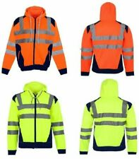 MENS HI VIZ VIS 2 TUNE JACKET HOODIE PULL OVER SWEATSHIRT WORK TOP JUMPER S-5XL