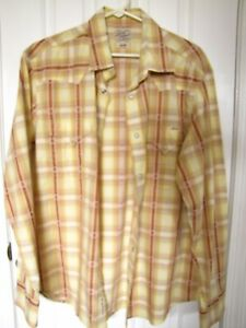 LUCKY BRAND Men's Large Sleeve + Pearl Style Buttons + Orange / Yellow Plaid