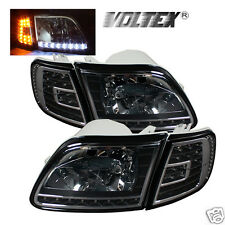 1997-2002 FORD F150 EXPEDITION LED CRYSTAL HEADLIGHTS LIGHTBAR LIGHT LAMP BLACK