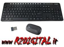 KIT TASTIERA + MOUSE WIFI MK8008 WIRELESS MULTIMEDIALE USB PC MINI RICEVITORE