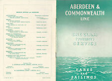 Aberdeen & Commonwealth Line 1938 Fares and Sailings One Class Tourist Service