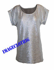 Womens ladies foil Silver Shiny sparkle mattalic bodycon swing  top  8 -18