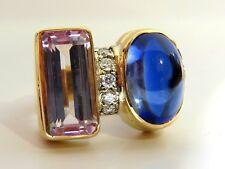 14.75ct Lab Sapphire diamonds ring vivid blue 14kt Kuzite