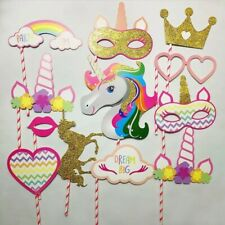12 pcs set unicorn photo props Birthday Decoration Party Supplies.