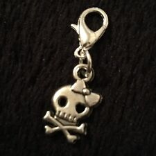 Day Of The Dead Charm Sugar Skull Clip Bracelet Purse Zip Flower Mexican Bow UK*