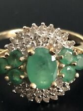 Vintage Emerald & Diamond Cluster Ring 14K solid Yellow Gold sz 7 3/4