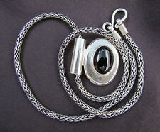 """Elegant Sterling Silver Oval Genuine Onyx Pendant Necklace On 17"""" Wheat Chain"""