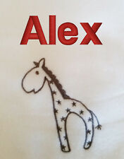 Personalised with embroidered any name white baby blanket shawl ELLI & RAFF soft