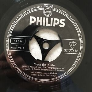 LOUIS ARMSTRONG: Mack the Knife / Back O' Town Blues (DE Single Philips 321 776)