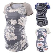 ❤️ Pregnant Women Short Sleeve Tops Summer Floral Print Maternity T-shirt Blouse