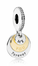 Authentic Pandora Silver & 14K Gold You & Me Forever Clear CZ Bead 791979CZ