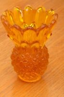 Vintage Amber Pineapple Shaped Glass Candle Holder