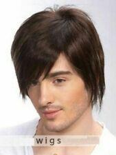 Dark Brown Men Human Hair Wig Wigs Mens Short Hair Straight Layered Style