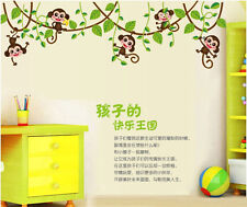 Lovely Monkey Jungle Tree Vines Wall Sticker Art Vinyl Nursery Kids Room Decor