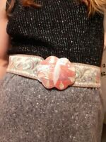 1980's Victorian Style Embroidered Tapestry Belt w/ Opalescent Buckle (One Size)