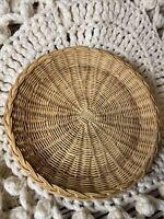 "Vintage 10"" Round Circular Wicker RATTAN BASKET Serving TRAY Flat Woven Plant"